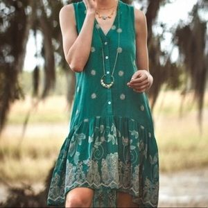 Maeve Anthropologie Teal Embroidered Dress